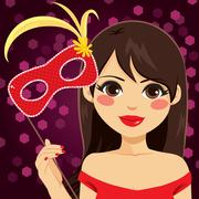 Woman Venetian Mask Stock Illustration