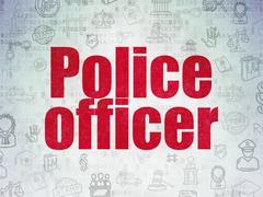 Law concept: Police Officer on Digital Data Paper background Stock Illustration