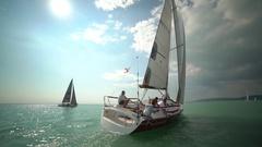 Yacht race in open water Stock Footage