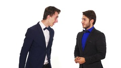 Man refuses to shake hands with his business partner Stock Footage