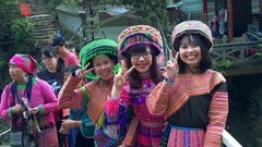 Vietnamese women pose in Hmong national dresses, Vietnam Stock Footage
