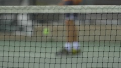 Tennis player preparing to serve. Stock Footage