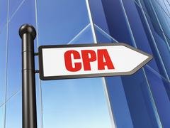 Business concept: sign CPA on Building background Piirros