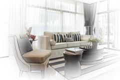 Interior sketch design of modern living room with modern chair and sofa Stock Photos