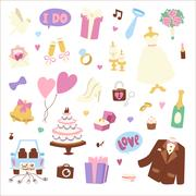 Wedding cartoon icons vector illustration Stock Illustration