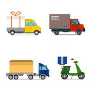 Delivery transport cargo truck and scooter shipping vector illustration Stock Illustration