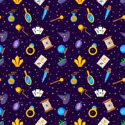 Magic decorative icons seamless pattern Stock Illustration