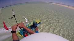 POV of a man kite surfing in the Red Sea, Egypt, slow motion. Stock Footage