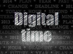 Timeline concept: Digital Time in grunge dark room Piirros