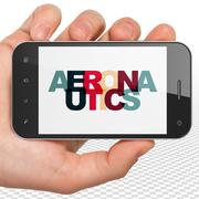 Science concept: Hand Holding Smartphone with Aeronautics on  display Stock Illustration