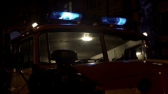 Fire truck emergency lights and siren Stock Footage