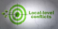 Political concept: target and Local-level Conflicts on wall background Stock Illustration