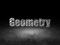 Education concept: Geometry in grunge dark room Stock Illustration
