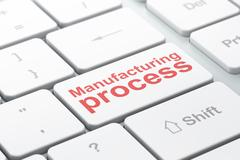 Manufacuring concept: Manufacturing Process on computer keyboard background Piirros