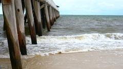 4k Ocean Waves by Long Jetty Pier Stock Footage