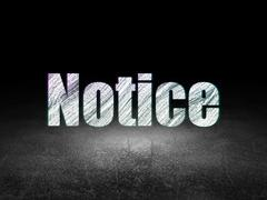 Law concept: Notice in grunge dark room Stock Illustration