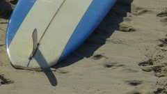 Longboard surfboards on the beach. Stock Footage
