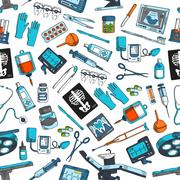 Medical items tools seamless vector pattern Stock Illustration