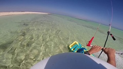 POV of a man kite surfing in the Red Sea, Egypt. Stock Footage