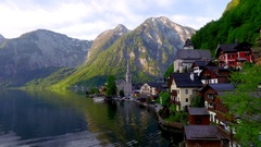 Dawn over the mountain lake in Hallstatt, Alps Stock Footage