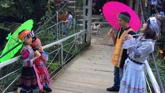 Family dressed in Hmong clothes, Sa Pa, Vietnam Stock Footage