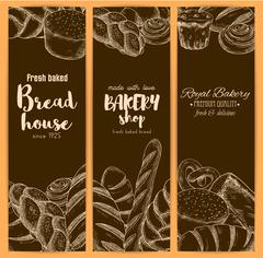 Bread house banners for bakery shop vector sketch Piirros