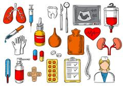Medical items and medicines vector sketch icons Piirros