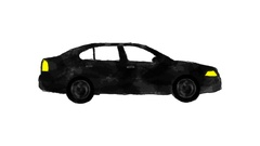 Hand Drawn Cartoon Black Car Driving in a Loop in Alpha Channel Stock Footage
