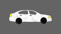 Hand Drawn Cartoon White Car Driving in a Loop in Alpha Channel Stock Footage