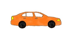 Hand Drawn Cartoon Orange Car Driving in a Loop in Alpha Channel Stock Footage