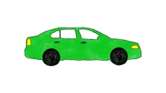 Hand Drawn Cartoon Green Car Driving in a Loop in Alpha Channel Stock Footage