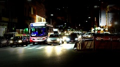 Traffic at Night in Buenos Aires Stock Footage