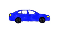 Hand Drawn Cartoon Blue Car Driving in a Loop in Alpha Channel Stock Footage