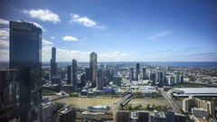Cloudscape time lapse of city. Aerial view of Melbourne skyline Stock Footage