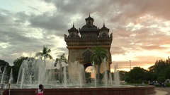 Patuxai arch monument. Famous landmark and attraction of Vientiane Stock Footage