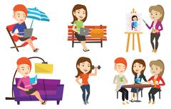 Vector set of people during leisure activity Stock Illustration