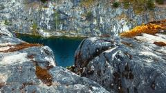 Moss and Rocks at Marble Canyon Ruskeala, Karelia, Russia Stock Footage