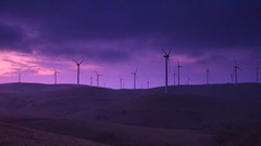 Wind turbines and morning sky Stock Footage