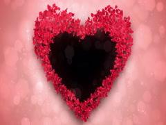 Red Rose Sakura Flower Petals In Heart Shape Alpha Matte Loop Placeholder 4k Stock Footage