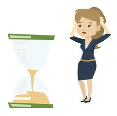 Desperate business woman looking at hourglass Stock Illustration