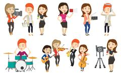 Vector set of media people characters Stock Illustration