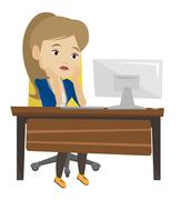 Exhausted sad employee working in office Stock Illustration