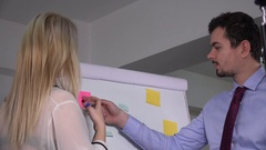 Creative business people writing sticky notes on flip chart teamwork growth job Stock Footage