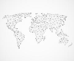 Networking world map texture, low poly earth. Vector global communication Piirros