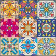 Vector patchwork seamless wall tile pattern, ceramic mexican tiles Stock Illustration