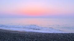 Morning glow at the seaside, Japan Stock Footage
