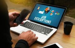 JOB DESCRIPTIONS  Human resources, employment, team management JOB DESCRIPT.. Stock Photos