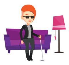 Blind woman with stick vector illustration Stock Illustration