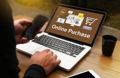 Online Puchase Add to Cart Online  Order Store Buy shop  Online payment Sho.. Stock Photos