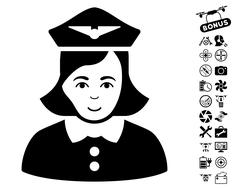 Airline Stewardess Icon With Flying Drone Tools Bonus Stock Illustration